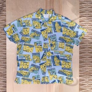 LIZ CLAIRBORNE POSTCARD BUTTON UP